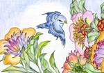 カワセミと花・ぬり絵