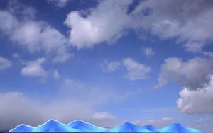 今日の空と描いた山脈