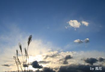 夕暮れの青い空