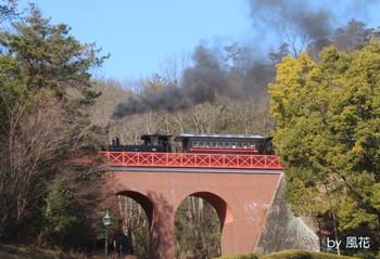 橋の上を走るSL